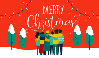 Christmas diverse friend group hug greeting card