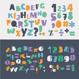 Vector of stylized colorful font and alphabet