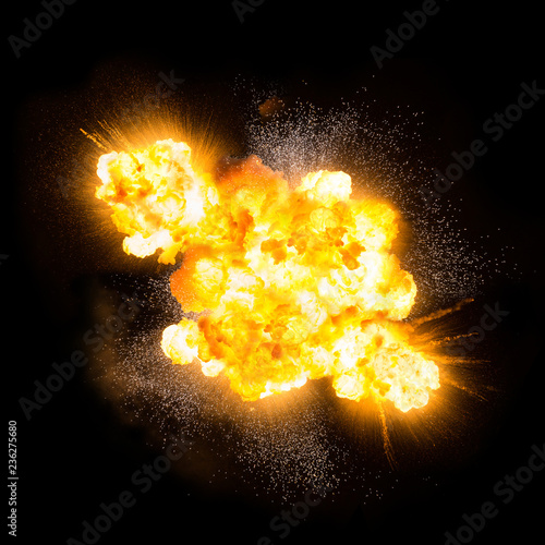 Extremely hot fiery explosion with sparks and smoke, against black background © michalz86