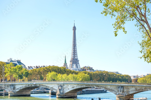 Eiffel tower and bridge on Seine in Paris, France - 236278890