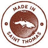 Saint Thomas map vintage stamp. Retro style handmade label, badge or element for travel souvenirs. Red rubber stamp with island map silhouette. Vector illustration. - 236281462