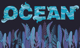 ПечатьColorful horizontal banner with underwater life and text. Ocean life poster, background. Editable vector illustration