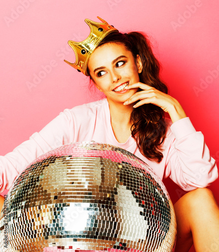 young cute disco girl on pink background with disco ball and cro - 236287042