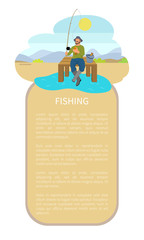 Fishing Man on Lake or Riverside Back Flat Poster © robu_s