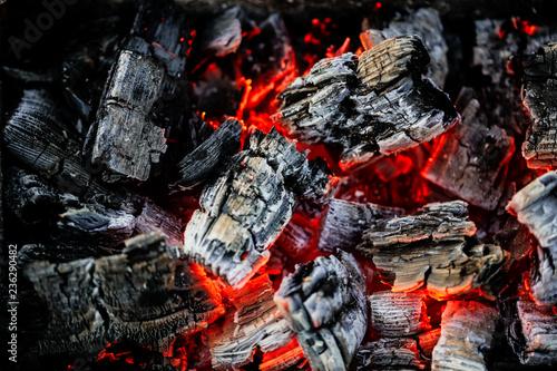 Leinwandbild Motiv Burning coals of wood as a background
