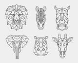 Set of abstract polygonal animals of Africa. Linear geometric lion, elephant, Zebra, giraffe, Rhino, hippopotamus. Vector illustration.
