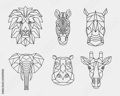 Set of abstract polygonal animals of Africa. Linear geometric lion, elephant, Zebra, giraffe, Rhino, hippopotamus. Vector illustration.