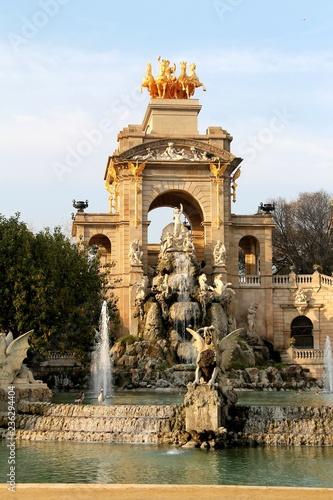 fototapeta na ścianę Barcelona, Parc de la Ciutadella, Cascada, cascade, waterfall, park, sculptures, fountain, monument, stairs, architecture, landmark,