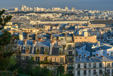 View from above of the historic district of Montmartre in Paris at sunset