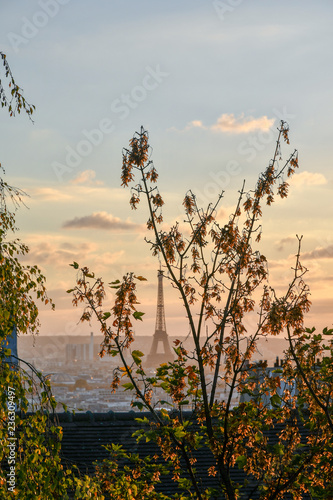 View of Paris from the hill of Montmartre district with the famous Tour Eiffel at sunset in autumn - 236309497