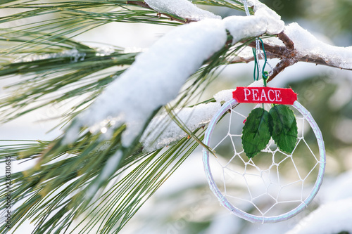 Winter Holiday Decoration Concept Dream Catcher With Sign Peace And