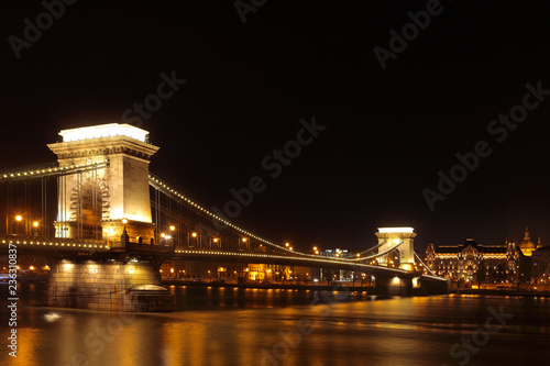 Budapest, a beautiful night view of the Chains Bridge over the Danube, Hungary, Europe