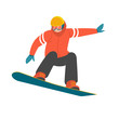 Snowboarder. Vector illustration of a man in red winter jacket, jumping on the snowboard in trendy flat style. Isolated on white