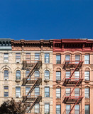 Empty blue sky above old buildings in the East Village neighborhood of New York City - 236314874