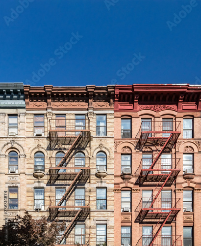 fototapeta na ścianę Empty blue sky above old buildings in the East Village neighborhood of New York City