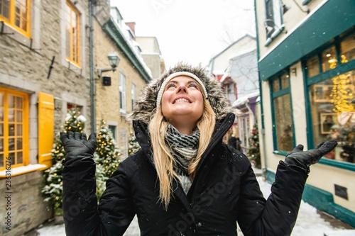 Leinwandbild Motiv A winter portrait of a girl outside on a beautifull landscape