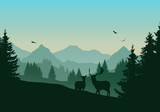 Realistic illustration of mountain landscape with green coniferous forest, two deer and three flying birds in the sky with dawn