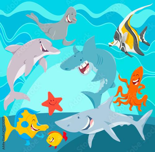 marine animals cartoon characters underwater