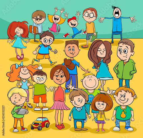 kids and teenagers cartoon characters group - 236332227