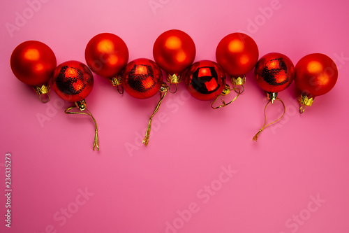 red balls on a pink background. - 236335273