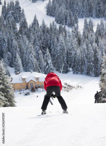 fototapeta na ścianę Woman skiing in mountains