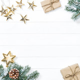 Christmas tree branches gifts golden stars