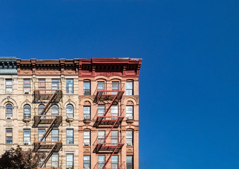 Colorful historic buildings on 4th Street in the East Village of Manhattan in New York City