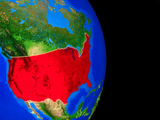 USA on realistic model of planet Earth with country borders and very detailed planet surface.