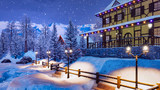 Mountain ski resort in highland alpine village with snow covered illuminated half-timbered house at winter night during snowfall. With no people 3D illustration.