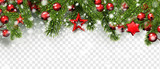 Christmas and New Year banner with fir branches, holly berries and red stars. - 236366867