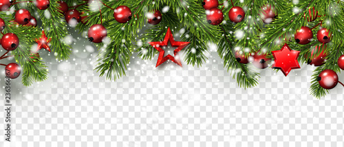 Christmas and New Year banner with fir branches, holly berries and red stars. © Vjom