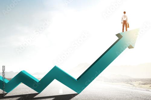 Leinwanddruck Bild His progress and success. Mixed media