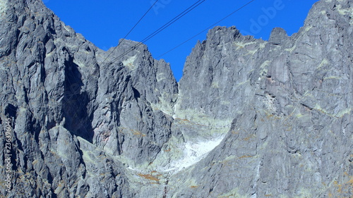 Rocky slope of Lomnica Peak in High Tatra Mountains in Slovakia
