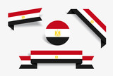 Egyptian flag stickers and labels. Vector illustration. - 236399864
