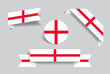 English flag stickers and labels. Vector illustration.