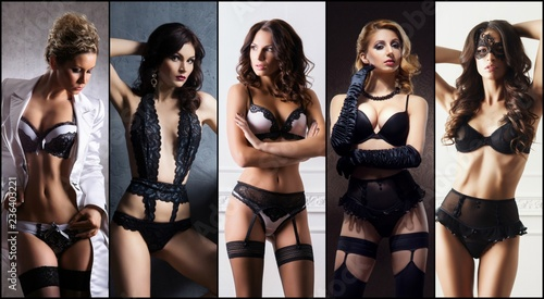 Sexy women in beautiful lingerie. Erotic underwear collage. - 236403221
