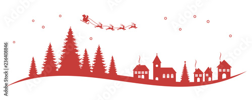 Santa Claus, reindeers, church and conifers