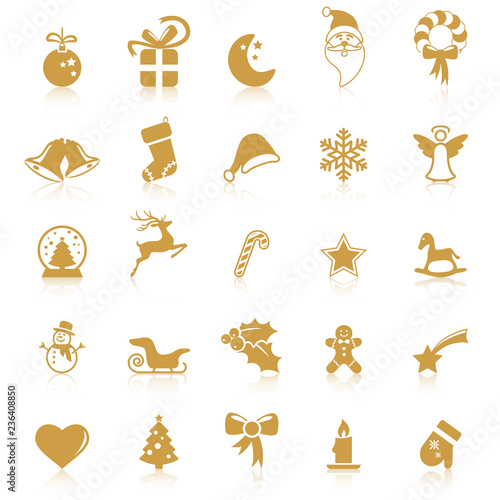 collection christmas icons with reflection - 236408850