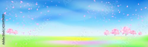 桜吹雪の舞う桜の木がある風景  - 236419090