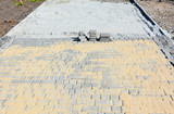 Installing garden patio from pavers. Paving. - 236421288