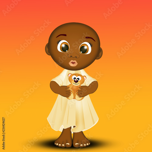 illustration of black child - 236424627