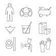 Line icon set painter equipments as compressor, protective suit, paint mask, gun, hardener, lacquer, gloves, sandpaper, strainer
