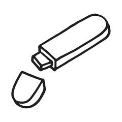 Flash disk doodle icon, vector illustration