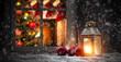 Leinwandbild Motiv Christmas window sill and fireplace