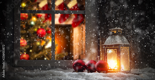 Foto Murales Christmas window sill and fireplace