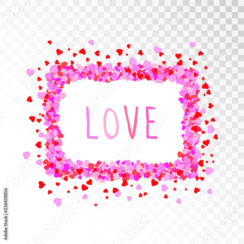 Vector decorative frame with hearts and hand drawn inscription Love. - 236438856
