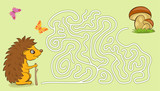 Maze game for kids with pictures of a hedgehog and mushrooms.  - 236439619