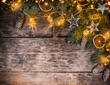 Decorative Christmas rustic background - 236443626