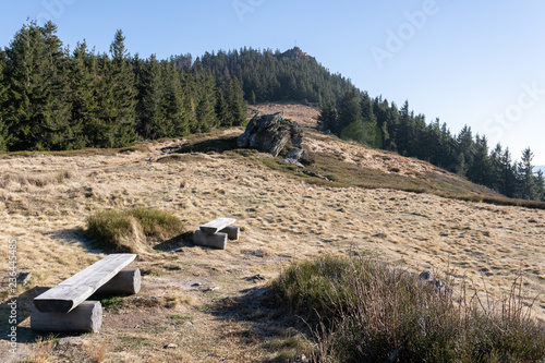 View to the top of die kleiner Osser in the bavarian forest in germany. - 236445485