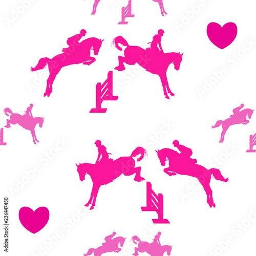 fototapeta na ścianę Equestrian seamless pattern - riders on horseback, jumping through simple obstacles